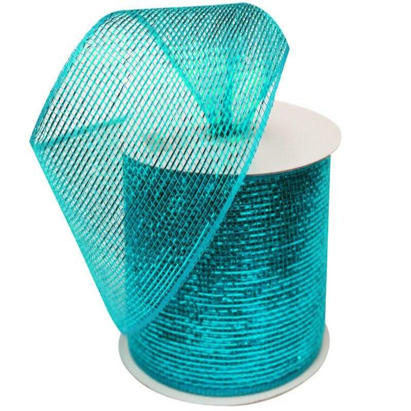 "What a MESH! 4"" x 25yards Shiny Ribbons Turquoise"