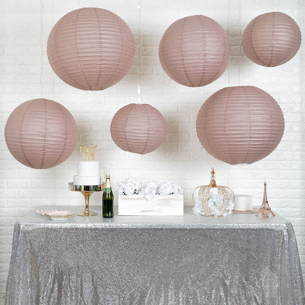 "Set of 6 - Hanging Dusty Rose Paper Lanterns Round Assorted Size - 6"", 8"", 10"", 14"""
