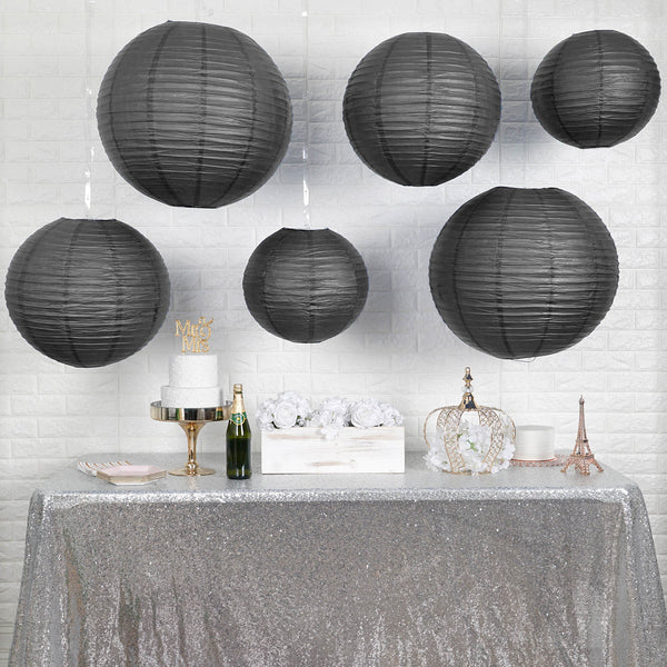 "Set of 6 - Hanging Black Paper Lanterns Round Assorted Size - 6"", 8"", 10"", 14"""