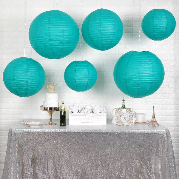 "Set of 6 - Turquoise Assorted Chinese Lanterns, Hanging Paper Lanterns With Metal Frame - 16"", 20"", 24"""