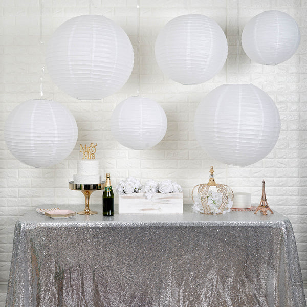 "Set of 6 - White Hanging Paper Lanterns Round Assorted Size - 16"", 20"", 24"""