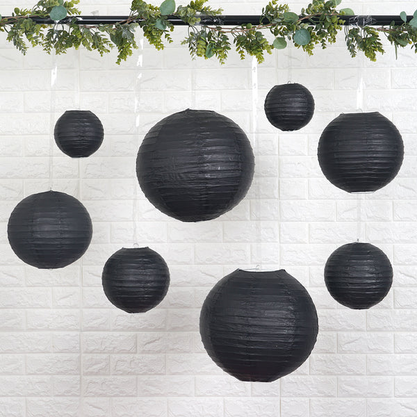 "Set of 8 - Black Assorted Chinese Lanterns, Hanging Paper Lanterns With Metal Frame - 6"", 8"", 10"", 14"""