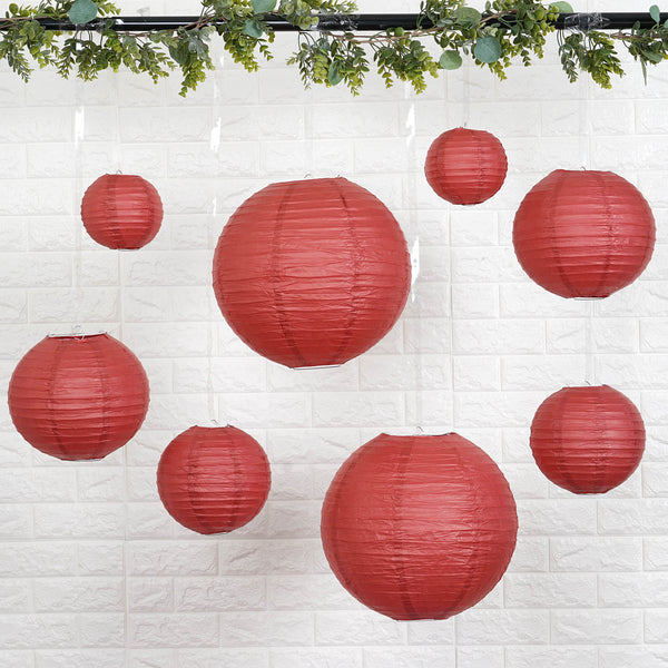 "Set of 8 - Burgundy Assorted Chinese Lanterns, Hanging Paper Lanterns With Metal Frame - 6"", 8"", 10"", 14"""