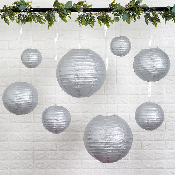 "Set of 8 - Silver Assorted Chinese Lanterns, Hanging Paper Lanterns With Metal Frame - 6"", 8"", 10"", 14"""