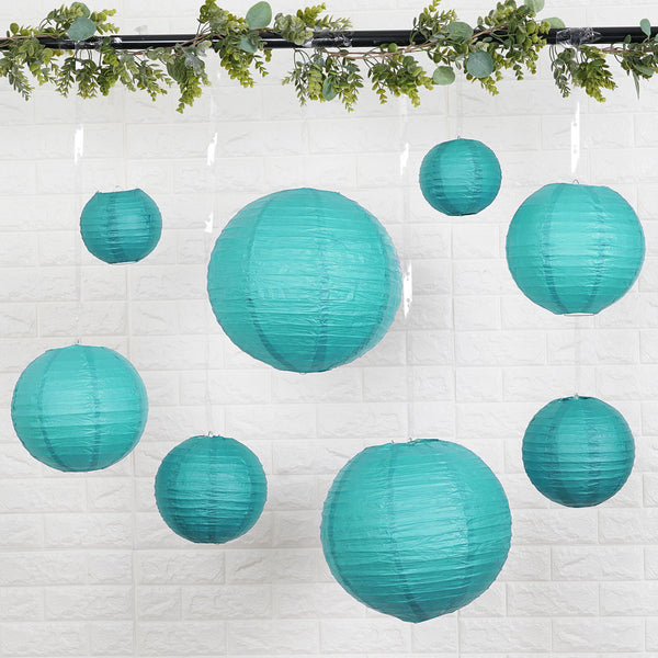 "Set of 8 - Turquoise Assorted Chinese Lanterns, Hanging Paper Lanterns With Metal Frame - 6"", 8"", 10"", 14"""