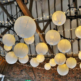 "12 Pack 16"" White Round Even Ribbing Paper Chinese Lantern Hanging Decoration"