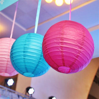 "12 Pack 8"" Fushia Round Even Ribbing Paper Chinese Lantern Hanging Decoration"