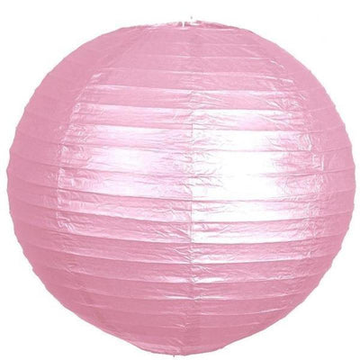 "12"" Paper Chinese Lantern Hanging Decor Set - Pink - 12pcs"