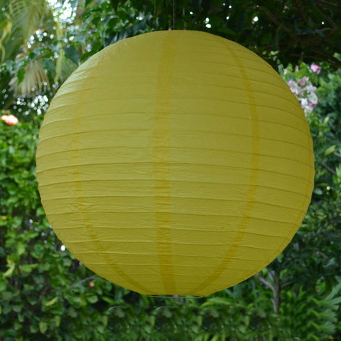 "12 Pack | 16"" Yellow Round Chinese Paper Lanterns"