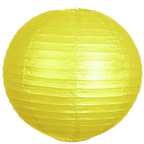 "16"" Paper Chinese Lantern Hanging Decor Set - Yellow - 12pcs"