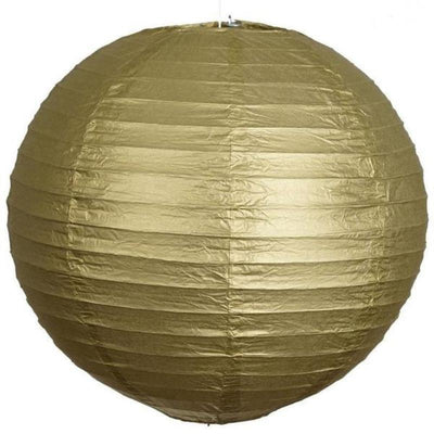 "20"" Paper Chinese Lantern Hanging Decor Set - Gold - 12pcs"