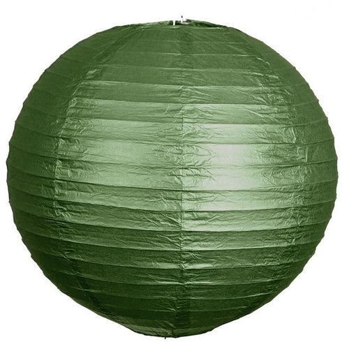 "24"" Paper Chinese Lantern Hanging Decor Set - Green - 12pcs"