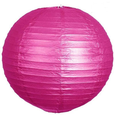 "8"" Paper Chinese Lantern Hanging Decor Set - Fushia - 12pcs"