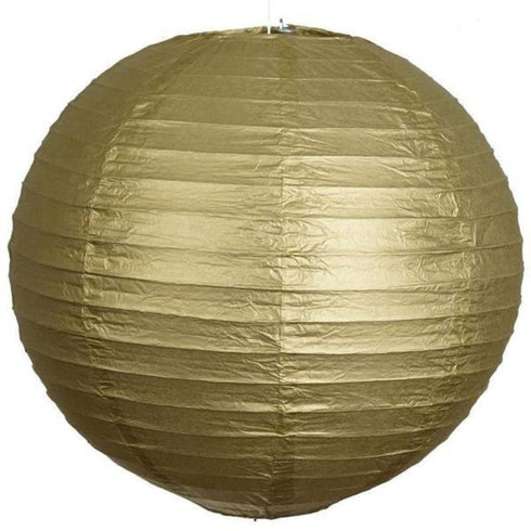 "8"" Paper Chinese Lantern Hanging Decor Set - Gold - 12pcs"