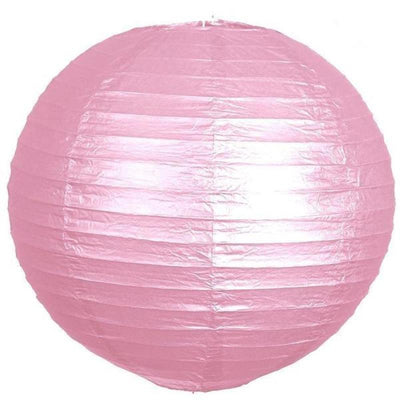 "8"" Paper Chinese Lantern Hanging Decor Set - Pink - 12pcs"