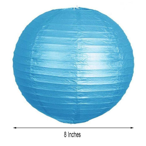 "12 Pack | 8"" Turquoise Round Chinese Paper Lantern"