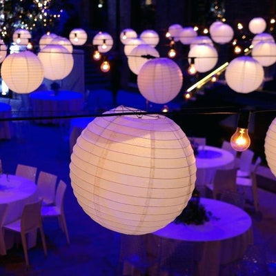 "12 Pack | 16"" White Round Chinese Paper Lanterns"