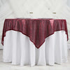 "60"" x 60"" Burgundy Duchess Sequin Square Overlay"