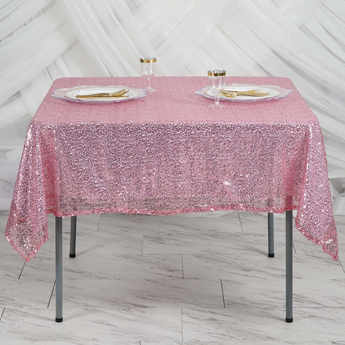 "60"" x 60"" Pink Duchess Square Sequin Table Overlay"