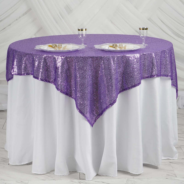 "60"" x 60"" Purple Duchess Sequin Square Overlay"