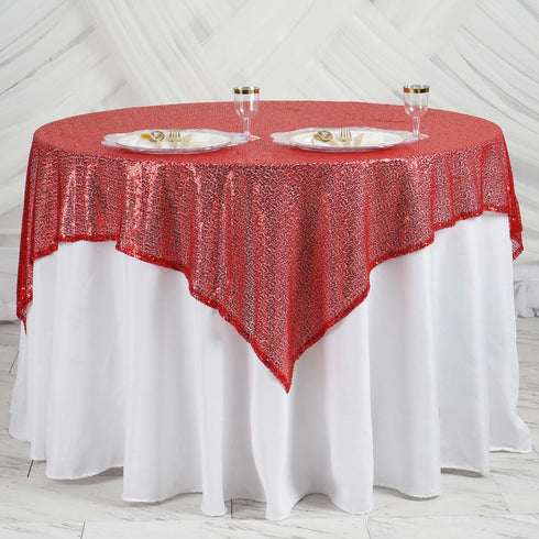 "60"" x 60"" Red Duchess Sequin Square Overlay"