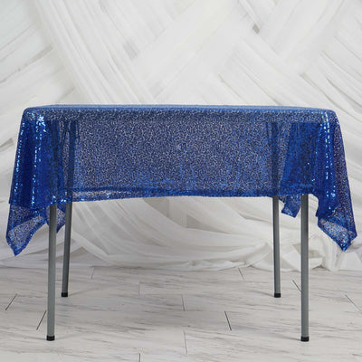 "60"" x 60"" Royal Blue Duchess Sequin Square Overlay"