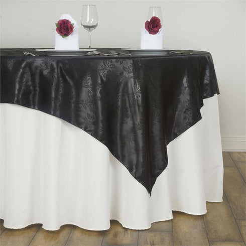 60'' | Black Square Overlay | Lily Embossed Satin Table Overlays