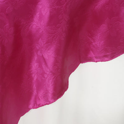 60'' | Fushia Square Overlay | Lily Embossed Satin Table Overlays