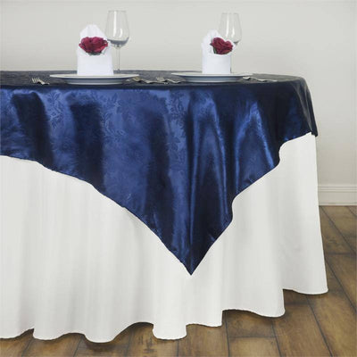 "Adoringly Adorned Satin Lily Overlay 60"" x 60"" - Navy Blue"