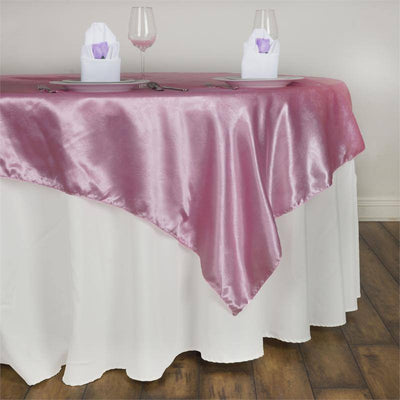 60'' | Pink Square Overlay | Lily Embossed Satin Table Overlays