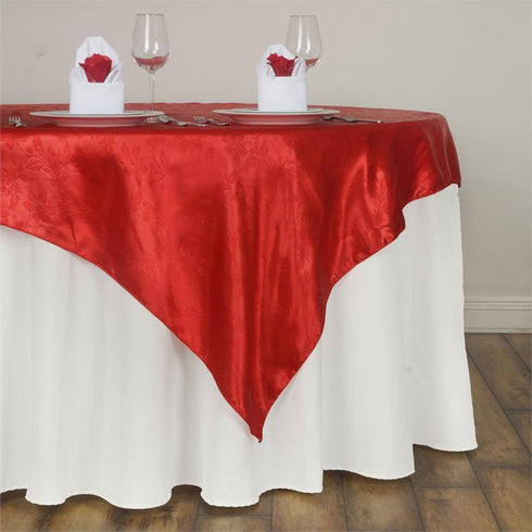 60'' | Red Square Overlay | Lily Embossed Satin Table Overlays