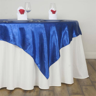 "Adoringly Adorned Satin Lily Overlay 60"" x 60"" - Royal Blue"