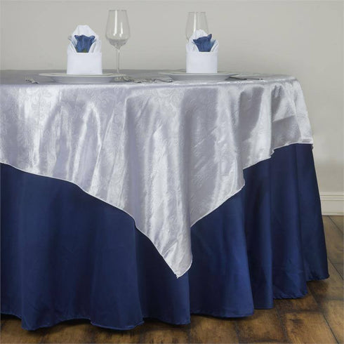 60'' | White Square Overlay | Lily Embossed Satin Table Overlays