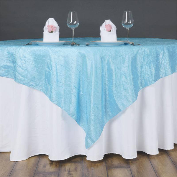 "60""x60"" Square Blue Crinkle Crushed Taffeta Table Overlay"