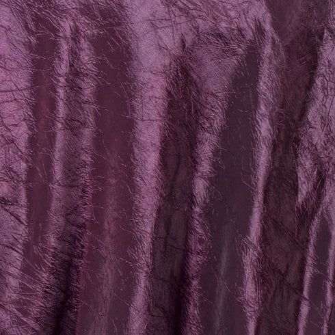"60""x60"" Square Eggplant Crinkle Crushed Taffeta Table Overlay"