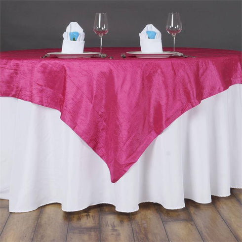 "60""x60"" Square Fushia Crinkle Crushed Taffeta Table Overlay"