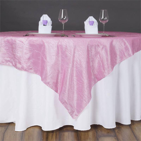 "60""x60"" Square Pink Crinkle Crushed Taffeta Table Overlay"