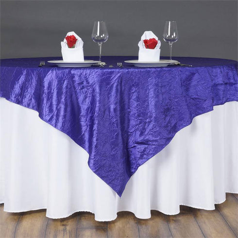 "60""x60"" Square Purple Crinkle Crushed Taffeta Table Overlay"