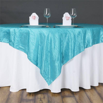 "60""x60"" Square Turquoise Crinkle Crushed Taffeta Table Overlay"