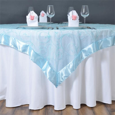 "Light Blue Embroidered Overlay 60""x60"""