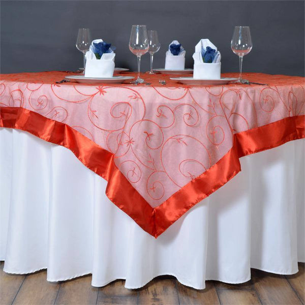 "60""x60"" Burnt Orange Satin Edge Embroidered Sheer Organza Square Table Overlay"