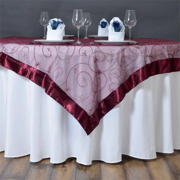 "60""x60"" Burgundy Satin Edge Embroidered Sheer Organza Square Table Overlay"
