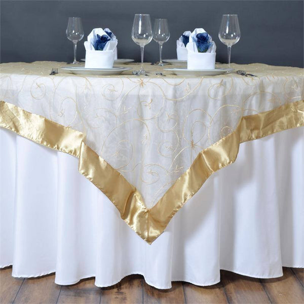 "60""x60"" Champagne Satin Edge Embroidered Sheer Organza Square Table Overlay"