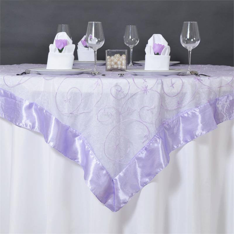 "Lavender Embroidered Overlay 60""x60"""