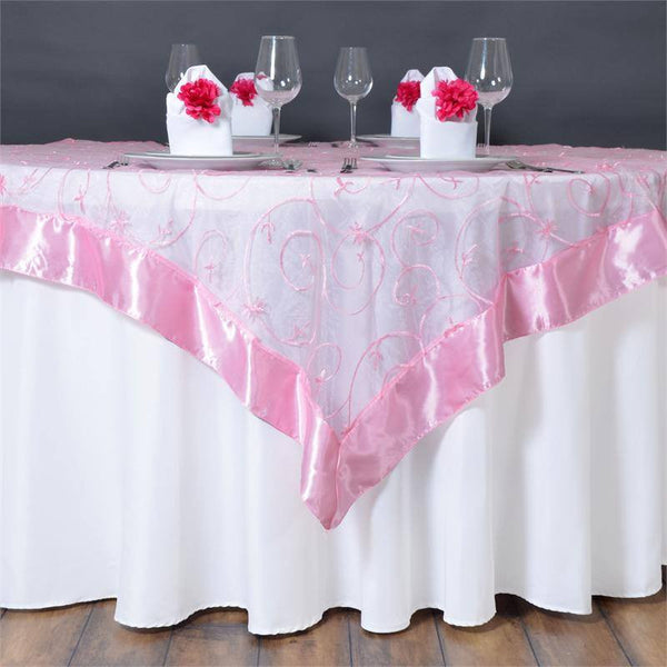 "60""x60"" Pink Satin Edge Embroidered Sheer Organza Square Table Overlay"