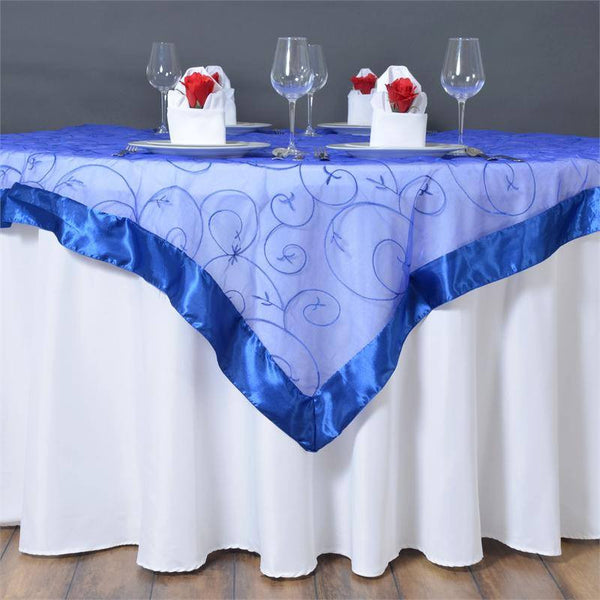 "60""x60"" Royal Blue Satin Edge Embroidered Sheer Organza Square Table Overlay"