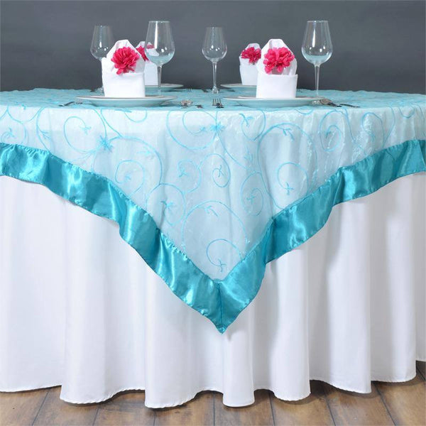 "60""x60"" Turquoise Satin Edge Embroidered Sheer Organza Square Table Overlay"