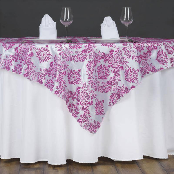 "60""x60"" Fushia Damask Flocking Square Overlay"