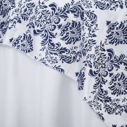 "60""x60"" Navy Blue Damask Flocking Square Overlay"