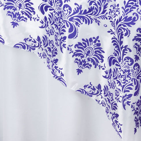 "60""x60"" Purple Damask Flocking Square Overlay"